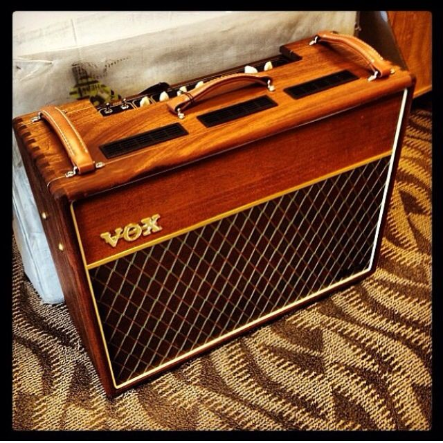 Vox AC30 Guitar Amp with a rebuilt stained wood cabinet- I don't like Vox but I like this one! Check out our latest Guitar Amps Deals & Review: guitarjunkiestore.com