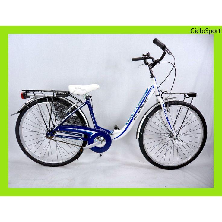 Bicicletta donna Venere Acciaio 26 CicloSport Bianco-Blu