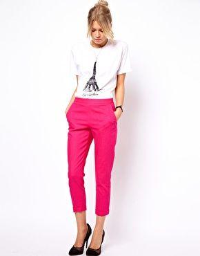 ASOS crop pant - love a hot pink crop pant w/ black heels