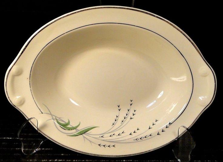 "Taylor Smith Taylor Green Wheat Oval Serving Bowl 1177 Vintage 30's 9 1/4"" NICE #TaylorSmithTaylor"