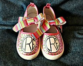 Hand-painted Pink Mary Jane shoes with Monogram