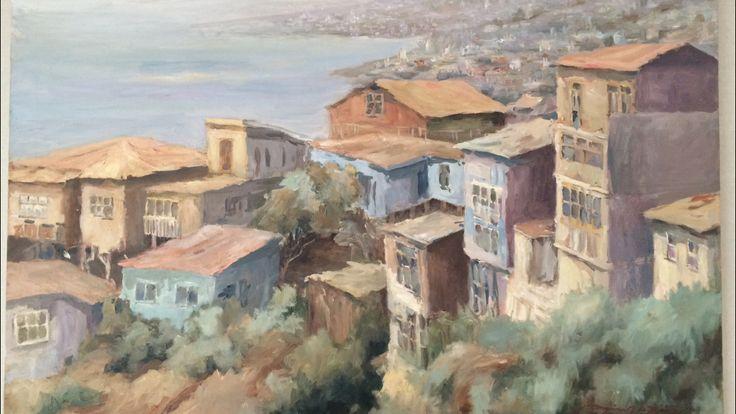 Valparaíso v región Chile Óleo sobre tela Artista Myriam Acevedo