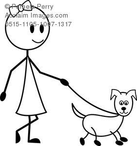 Clip Art Image of a Stick Figure Girl Walking Her Dog