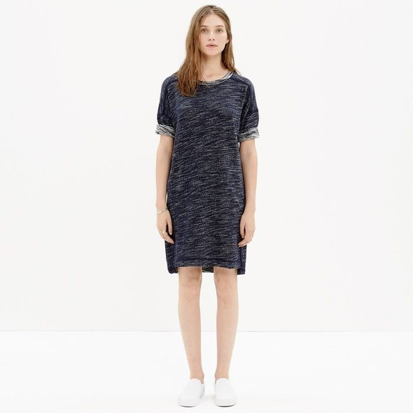 "Madewell Textured Sweatshirt Dress Textured weave sweatshirt dress with covered seam details in black. Non waisted. Short sleeve with dropped shoulder. Falls 33"" from shoulder. Pockets at side seam. Shirt tail hem. Madewell Dresses"