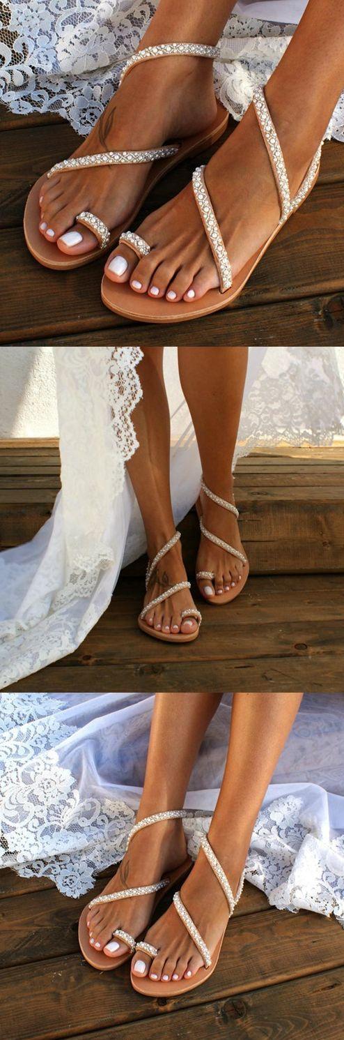 Frauen-Sommer handgemachte Flip Flops Strandsandalen