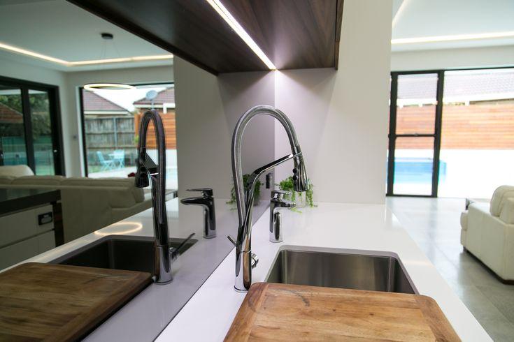 "Grey ""Reflections"" Splashback  Installed by Decoglaze Hunter, Joinery by Active Kitchens & Joinery"