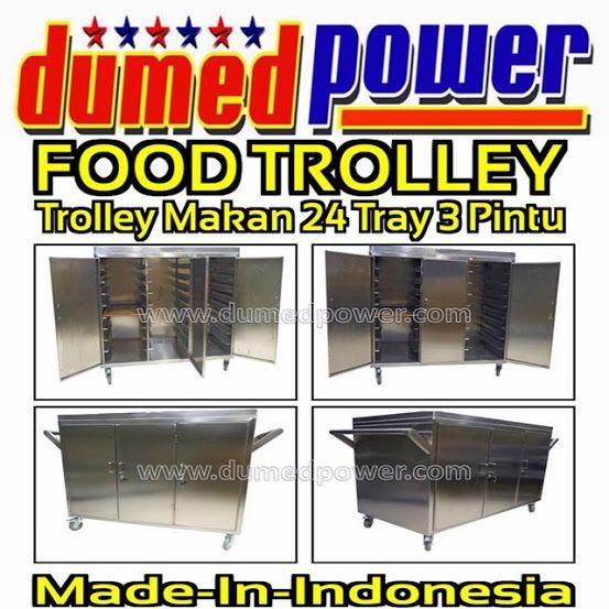 """FOOD TROLLEY RUMAH SAKIT 3 PINTU 24 TRAY STAINLESS STEEL """"DUMEDPOWER"""""""