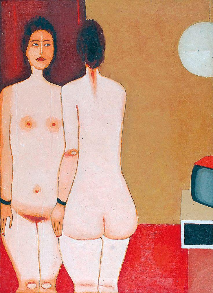 Jerzy NOWOSIELSKI (1923-2011)  Akt, 1975 olej, płótno; 70 x 50 cm; na odwrocie opis autorski, sygn. i dat.: IX 1975 / JERZY NOWOSIELSKI