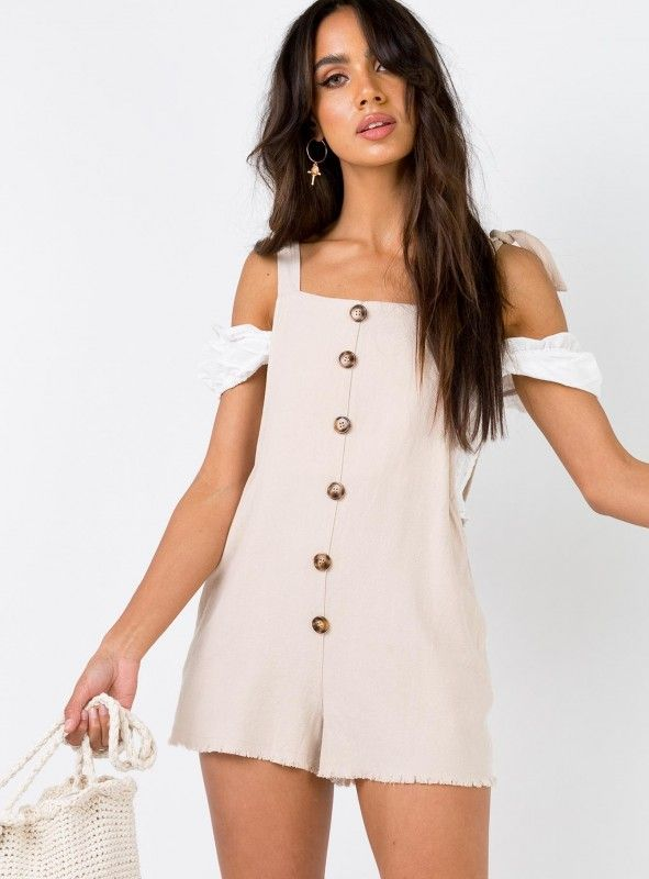 36af03744923 The Clarke Playsuit Beige | CollectiveStyles.com ♥ Fashion | Women apparel  | Women's Clothes | Dresses | Outfits | Rompers | PlaySuits | Boohoo |  Express ...