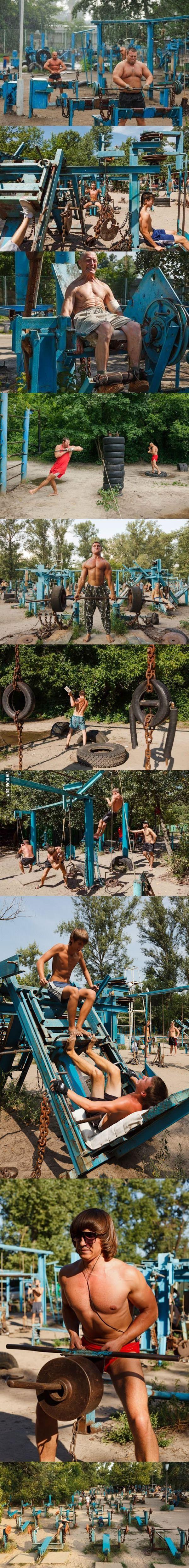 Sc**p metal outdoor gym in Ukraine