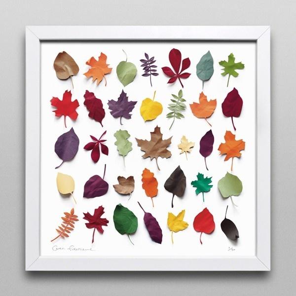 Cute paper leaves framed.