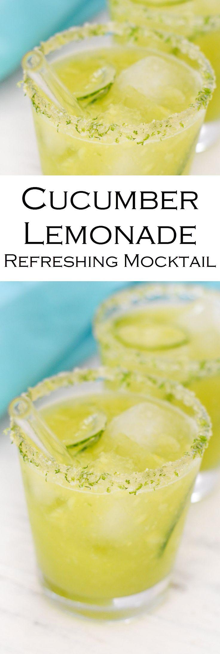 Cucumber Lemonade Recipe w. Honey, Salt, + Sugar Rim. Refreshing Summer Mocktail