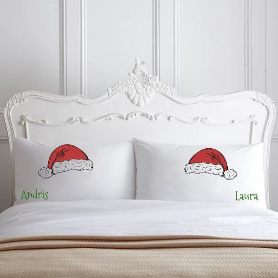 Christmas Pillows Gifts Santa Hat Personalized Couple Pillowcases Christmas bedding decor holiday Winter Pillows pillow cases couple gifts