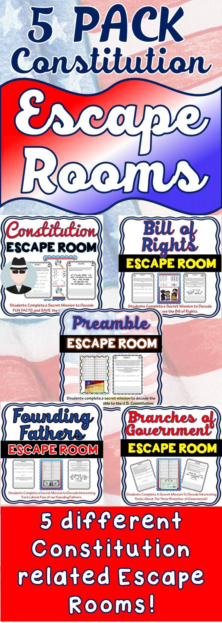 This 5 pack bundle of Constitution related Escape Rooms will take students on 5 separate secret missions around the classroom! Each escape room has students decode interesting facts about the Preamble, the Constitution, Bill of Rights, Founding Fathers or the Branches of Government. This is the perfect resource to introduce the subject or to review the topics.