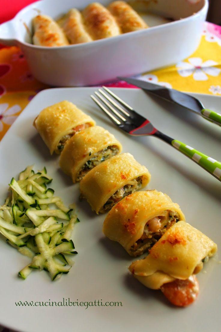 La ricetta perfetta per preparare degli ottimi cannelloni di crepes con un delizioso ripieno di gamberi zucchine e topinambur