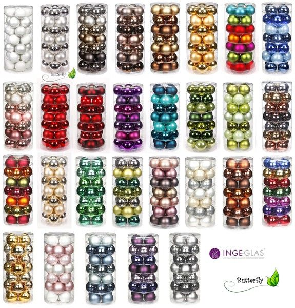Christbaumkugeln GLAS 6cm, 28Stk / Dose Farbe Grac von Kreativmarkt Butterfly auf DaWanda.com
