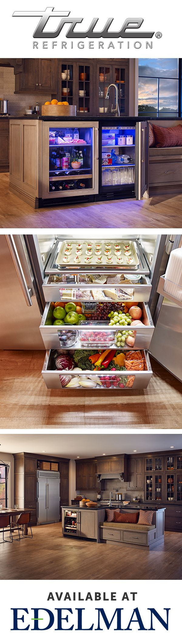 Integrate the refrigeration brand commercial kitchens have known and trusted for over 70 years into your dream kitchen. Available at Edelman.