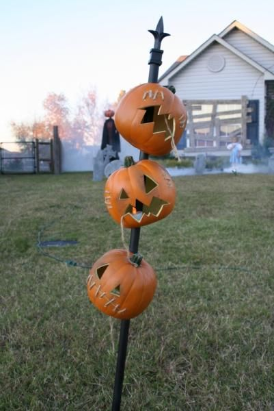 Pumpkin Totem Pole. Use LED votive candles to illuminate, no wires!