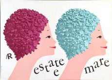 Summer at sea Estate al mare: manifesto di Lora Lamm realizzato, nel 1956, per la Rinascente.