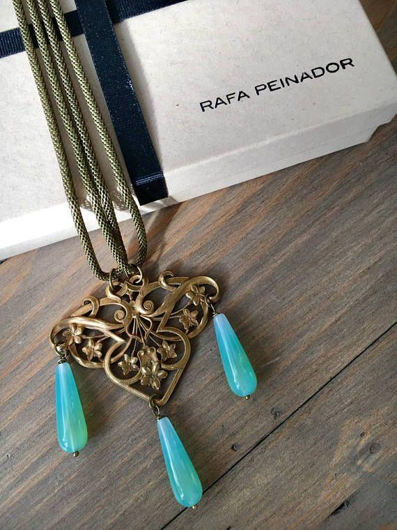 Vintage art nouveau brass and agate long necklace