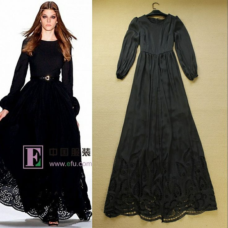Black Sleeved Maxi | Added touch of belt to a plain maxi | High Quality 2014 Runway Maxi Dress Women's Brief Noble Cutout Elegant Floor Length Long Sleeve Black Celebrity Party Long Dress-inDresses f...| tags: hijab, hijab style, hijab fashion