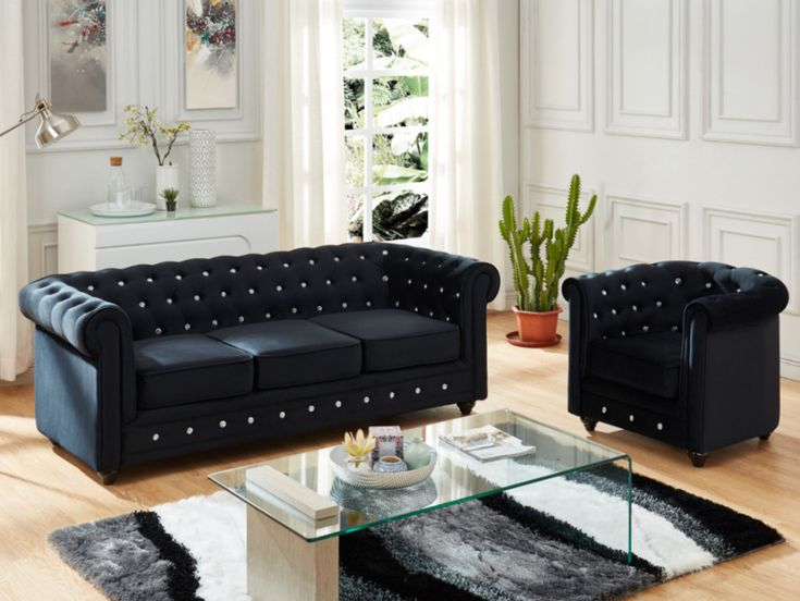 canape 3 places et fauteuil chesterfield velours noir et boutons effet cristal