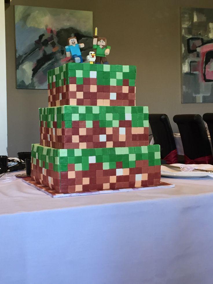 3 Tier - minecraft themed wedding cake. Chocolate mudcake with chocolate ganache.