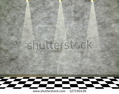 Empty #Room with black and white tiled floor and spot #lights #background #photograph #stock #image