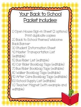 Back to School Packet- Open House Forms *EDITABLE*
