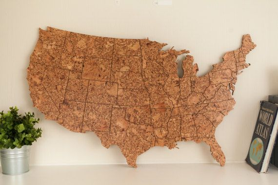 Travel Map Of The US Made Of Cork Engraved US Map Gift For - Us travel map on cork board