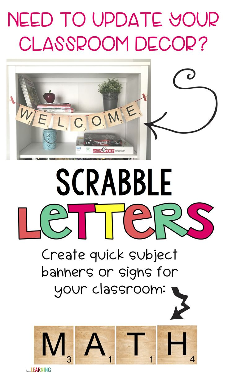 Are you looking for new ideas to update your classroom decor or bulletin boards? These printable Scrabble tiles are the perfect addition to your classroom! The templates include every letter of the alphabet in color AND black and white so that you can print them in color. I have also included directions to adjust to ANY size when you print these in order to fit your needs! It's quick and easy!