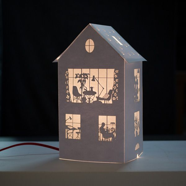 My paper house lamp. White paper .100 ex. 2013 www.helenedruvert.net credit photo : michel jakobi