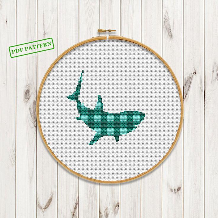 Shark Buffalo plaid Cross Stitch pattern Buffalo plaid decor baby Sea Animals modern cross stitch Animals Nursery baby PDF Pattern download