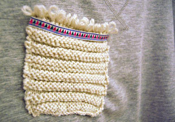 tutoriel tout simple pour une poche tricotée, ethnique et douillette
