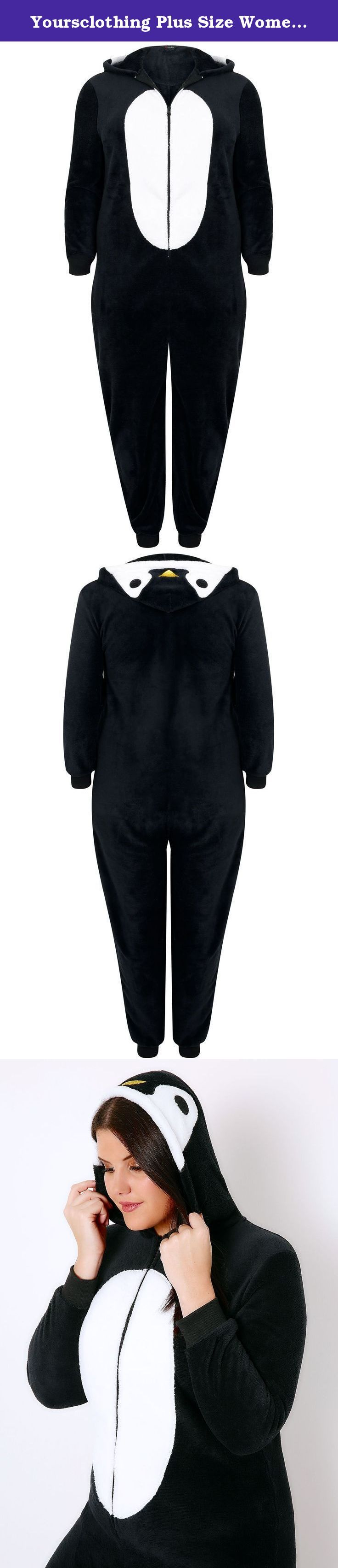 Yoursclothing Plus Size Womens Novelty Penguin Onesie With Hood & Zip-up Front Size 16-18 Black. Plus size black novelty penguin onesie with a hood, zip-up fastening to the front, and ribbed cuffs to the sleeves and legs. Made from a super soft cosy fabric this onesie is perfect for snuggling up on the sofa this winter.