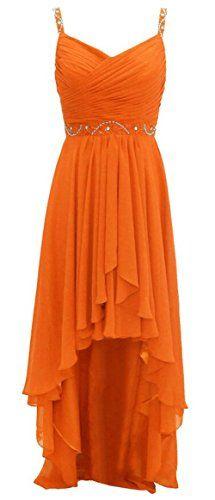 Endofjune Chiffon Goddess Medium length Prom Dress Bridesmaid US-8 Orange