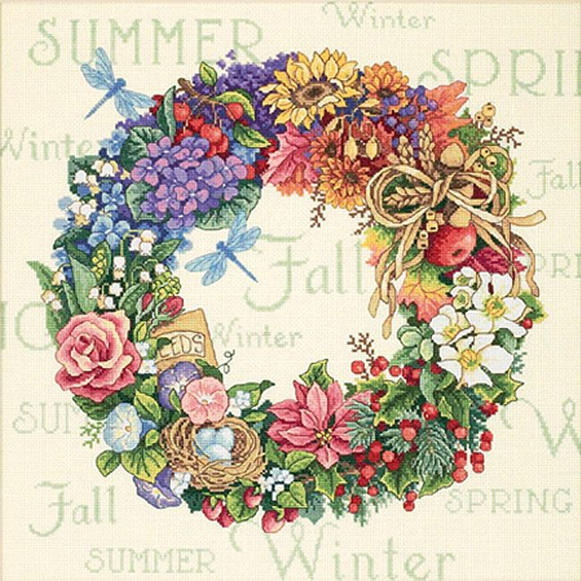 Wreath Of All Seasons Counted Cross Stitch Kit - Overstock™ Shopping - Big Discounts on Dimensions Cross Stitch Kits