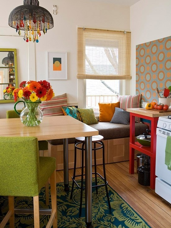 Extends beyond the table area to create a cozy spot to sit for Small kitchen eating area ideas