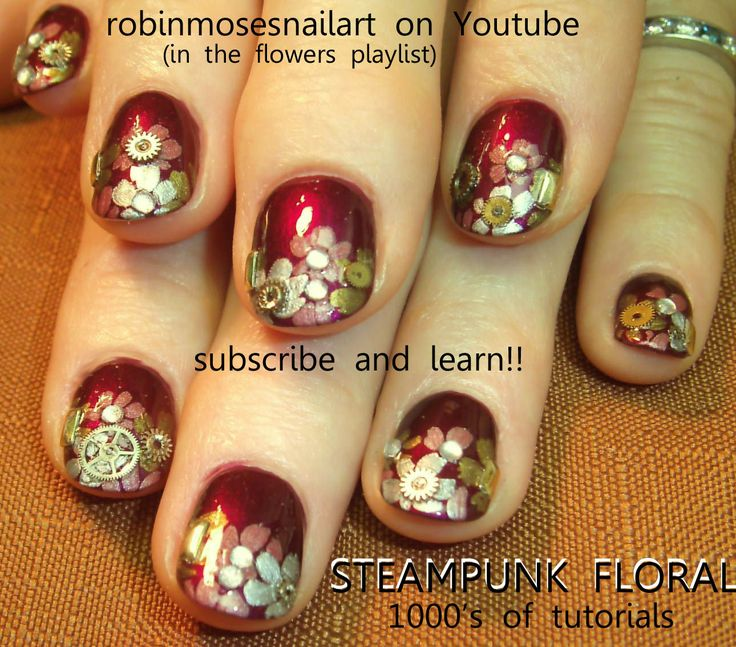 The 25 best steampunk nails ideas on pinterest pretty nails cool steampunk flower nail art gears and cogs playlist prinsesfo Images