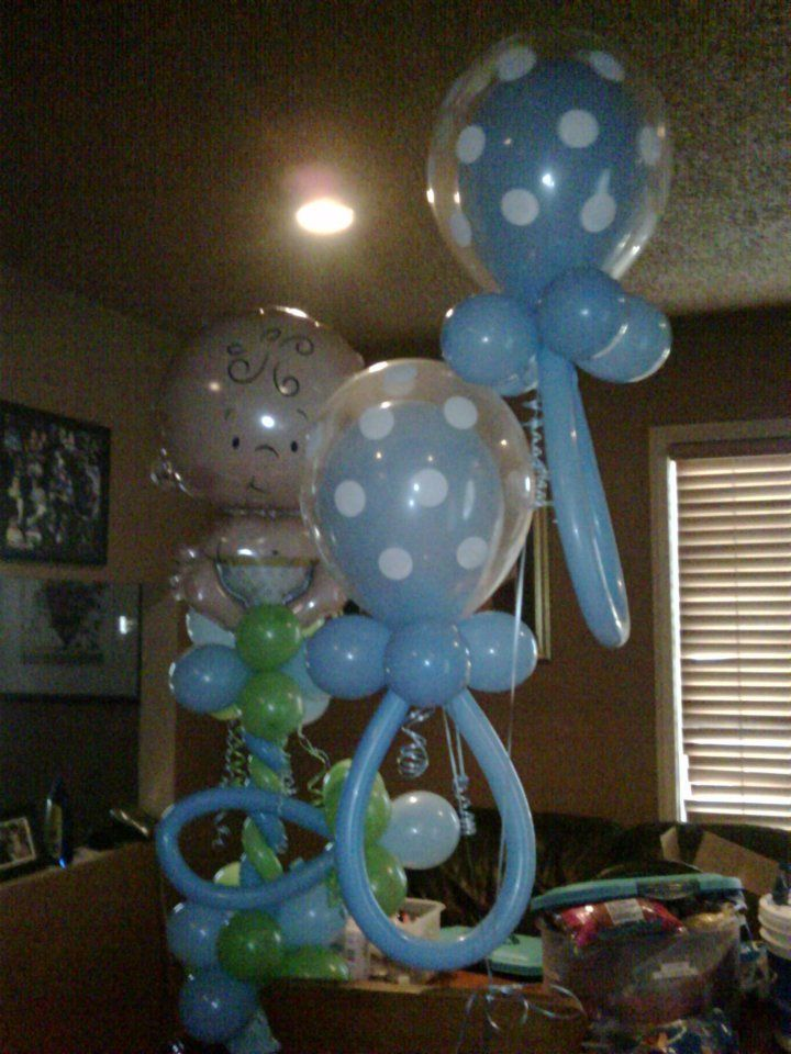 Baby shower decorations for boy balloon sculpture it 39 s a for Baby shower decoration centerpieces