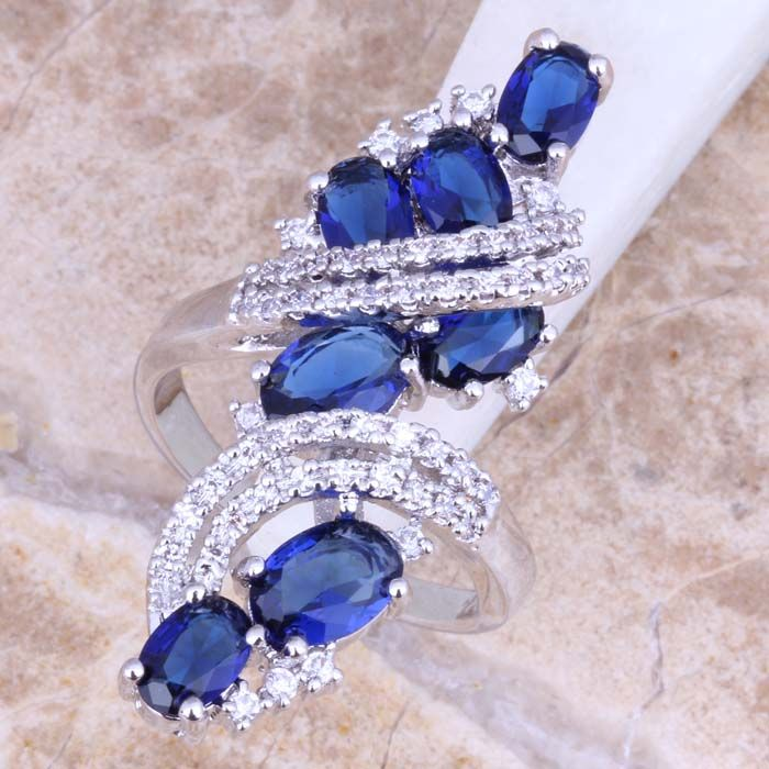 Captivating Blue Created Sapphire White Topaz 925 Sterling Silver Ring For Women Size 5 / 6 / 7 / 8 / 9 / 10 / 11 / 12 S0440