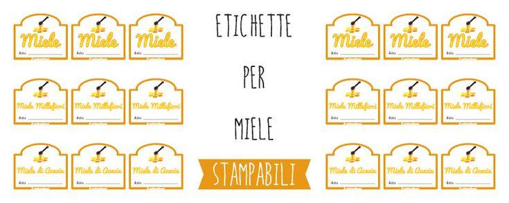 6 tipi di etichette per barattoli di Miele. Scegli, scarica e stampa le etichette che vuoi tra quelle che ho disegnato. Anche per barattoli grandi o piccoli.