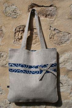 Tote Bag/ Sac de course réversible en Lin naturel et Coton Bio bleu motifs japonais