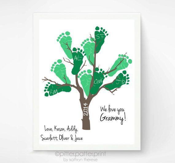 Baby Footprint Family Tree Art Personalized by PitterPatterPrint
