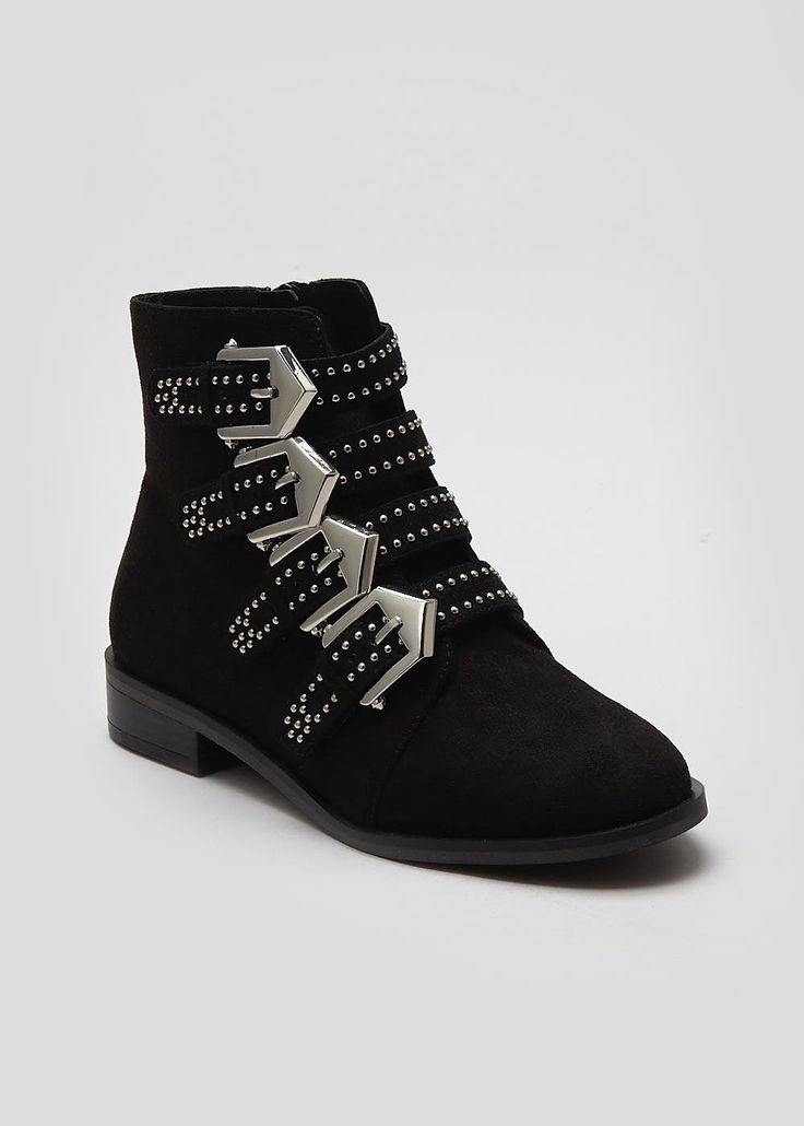 Lavish luxe meets biker chick with these edgy ankle boots. Fashioned with a statement silver pin stud detailing, alongside a four buckle design, these...