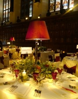 Nice idea to use lamps as centrepieces for a wedding!