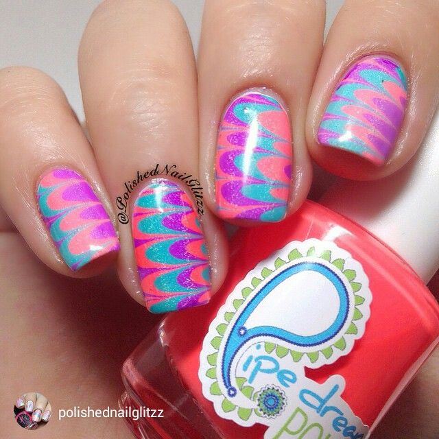 repost via @instarepost20 from @polishednailglitzz Happy Monday! I hope all the mommy's had a wonderful day yesterday Today's mani is another #watermarble yay lol I love using ANIVC by @pipedreampolish cause it makes it super easy for me to practice hehe. I used VIP Pass, 110 Degrees, And Happy Hour topped with Holo liss by @blisspolish and Gem Glam by @mydreampolish I used my watermarble tool that I got from @whatsupnails #instarepost20