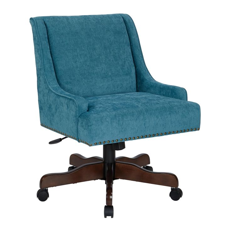Inspired by Bassett Everton Midcentury Home Office Chair in Sky Fabric with Antique Bronze Nail heads and Coffee Base (Sky), Blue