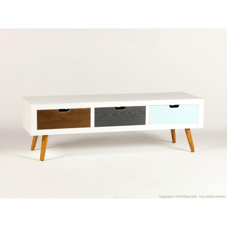 Meuble TV rectangulaire en bois 3 tiroirs Longueur 120 cm JOHNSEN