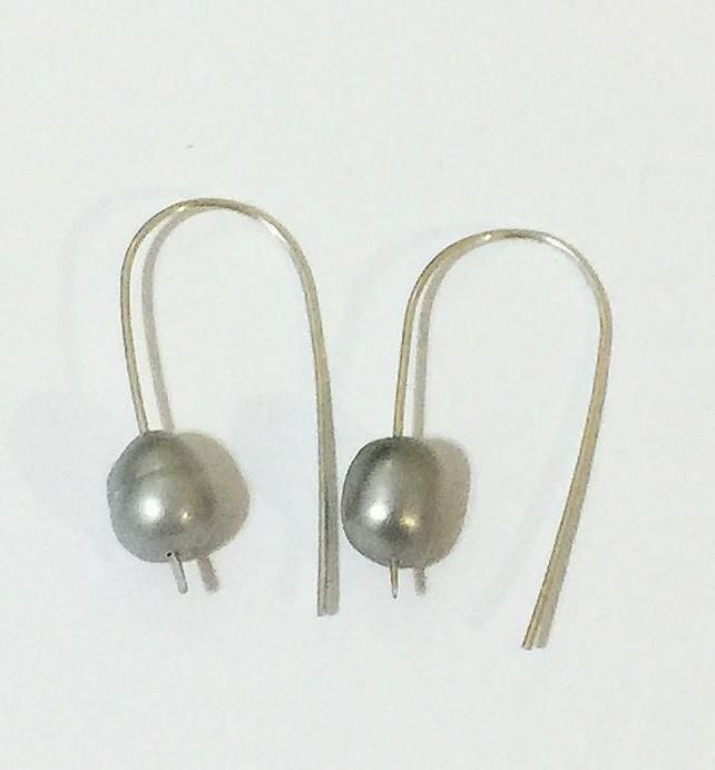 Dove Grey Pearl Earrings on Hand Made Sterling Silver Loops £15.00